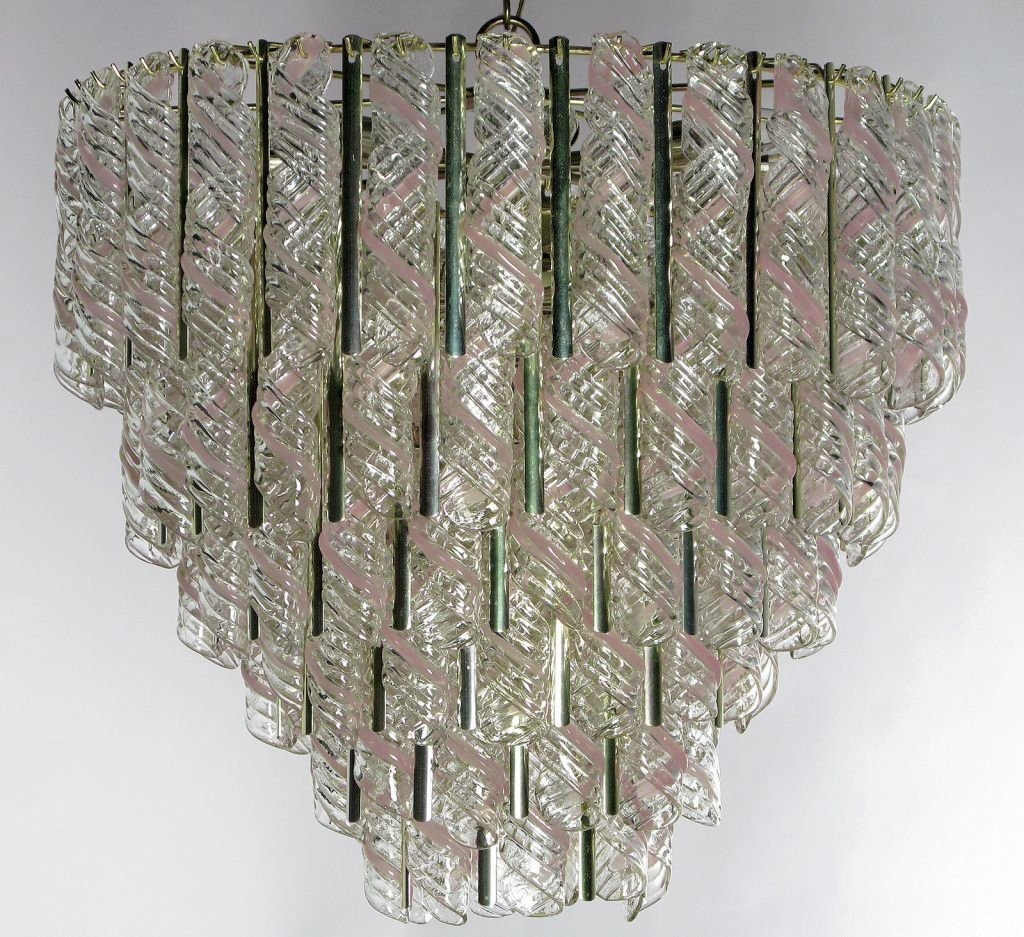 Murano Chandelier With Hanging Spirals Of Pink And Clear Glass For Within Murano Chandelier (#8 of 12)