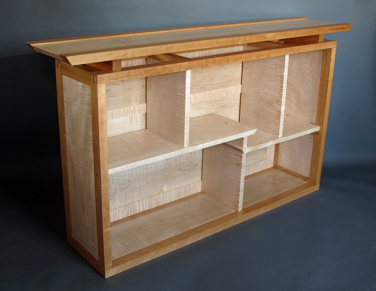 Narrow Bookcase Display Console Or Entertainment Center Throughout Handmade Bookcase (View 11 of 15)