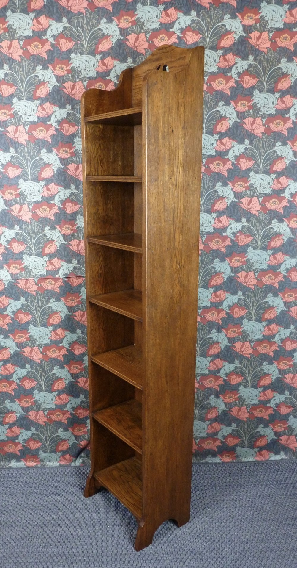 Narrow Oak Bookcase Rustic 6ft Solid Oak Narrow Bookcase Short For Very Tall Bookcase (#8 of 15)