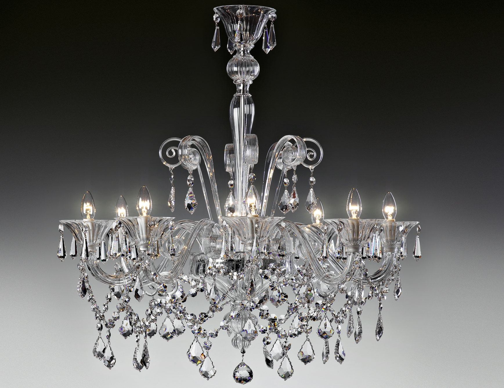 Nella Vetrina Lulu 9016 8 Modern Italian Chandelier Clear Murano Glass In Italian Chandeliers (#7 of 12)