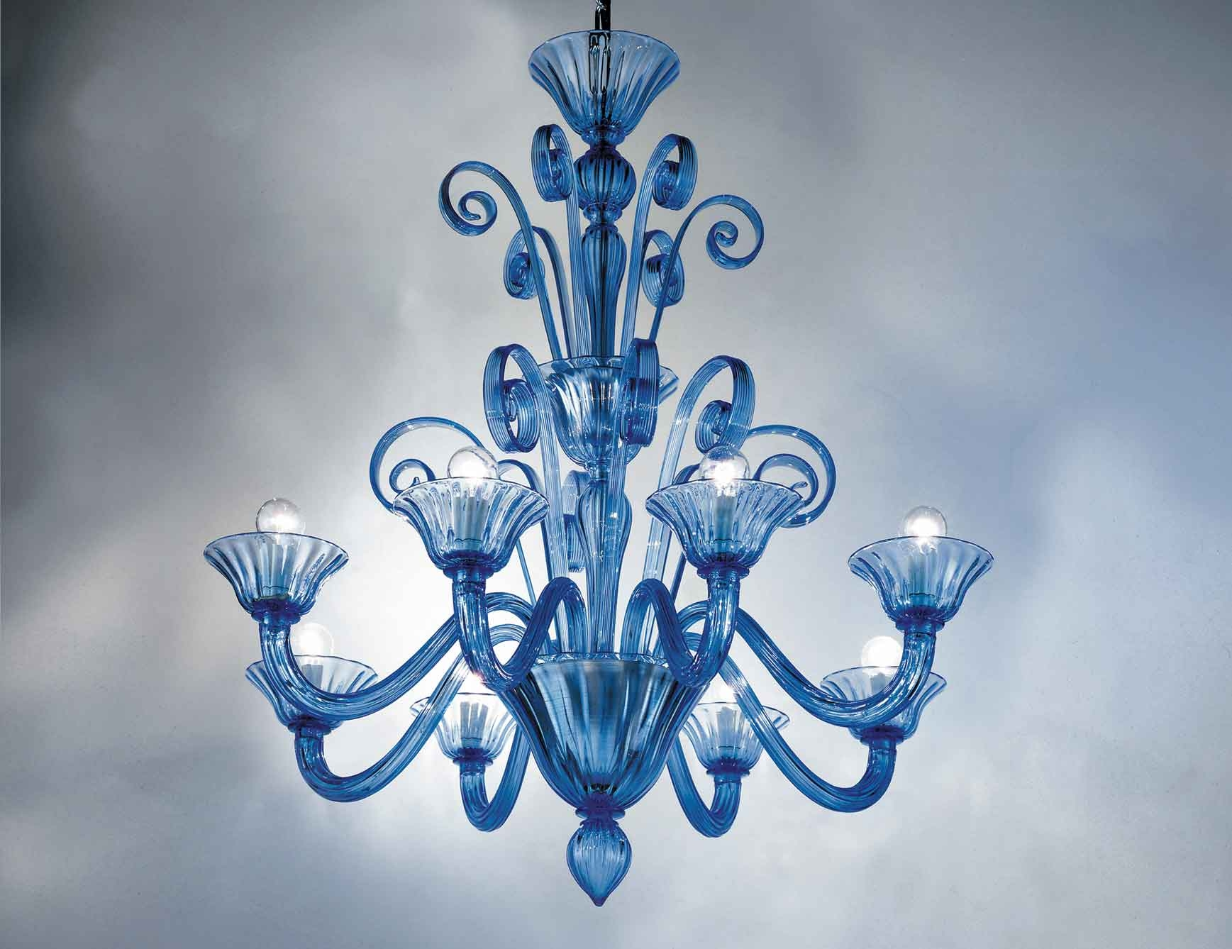 Nella Vetrina Melissa 9003 08 Venetian Chandelier In Light Blue With Murano Chandelier Replica (#7 of 12)