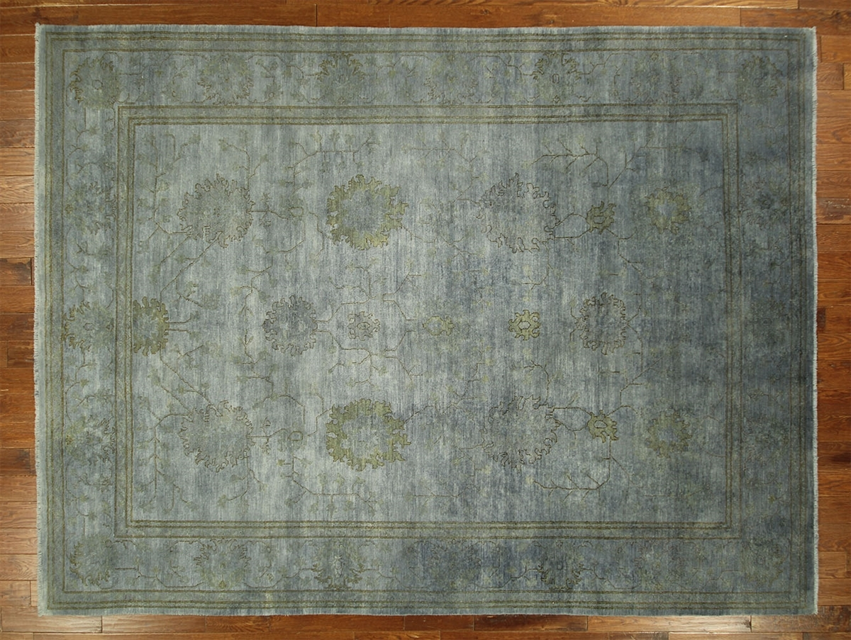 New Overdyed Peshawar Pakistani Blue Chobi 9×12 Hand Knotted Wool Intended For Blue Wool Area Rug (Image 14 of 15)