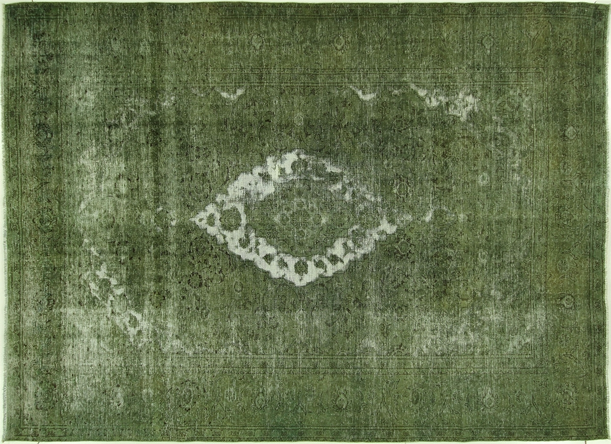 New Traditional Green Overdyed 8×11 Oriental Hand Knotted Wool Pertaining To Green Wool Area Rugs (#9 of 15)