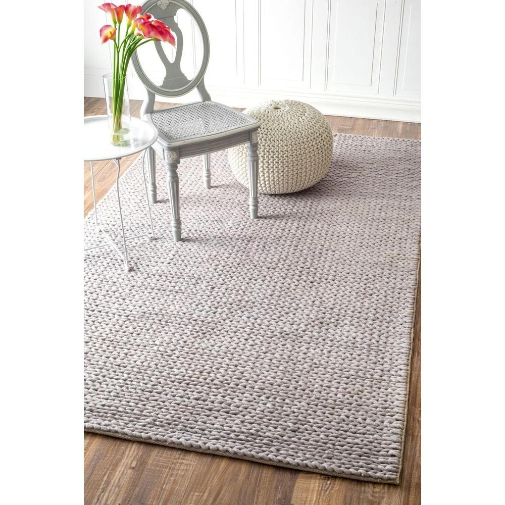 Nuloom Chunky Woolen Cable Light Grey 6 Ft X 9 Ft Area Rug Cb01d Within Braided Wool Area Rugs (#13 of 15)
