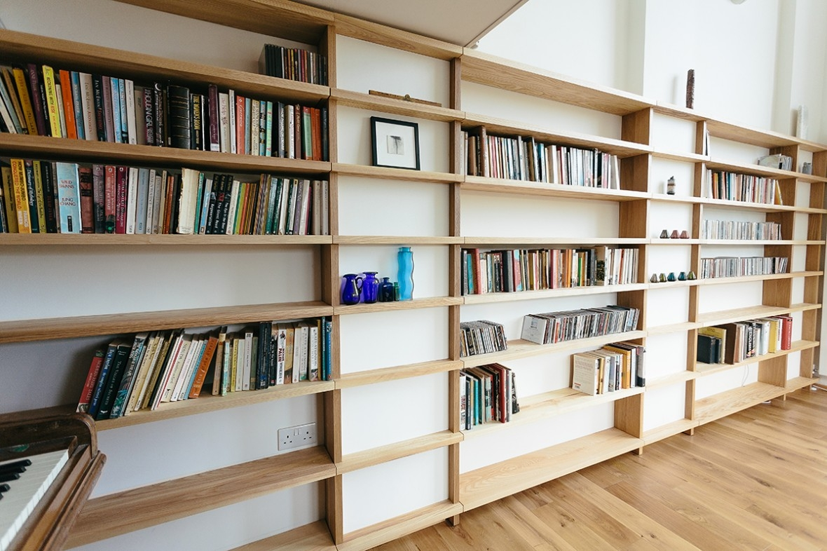Oak And Ash Fitted Shelving Truro Cornwall Samuel F Walsh For Bespoke Shelves (#14 of 15)
