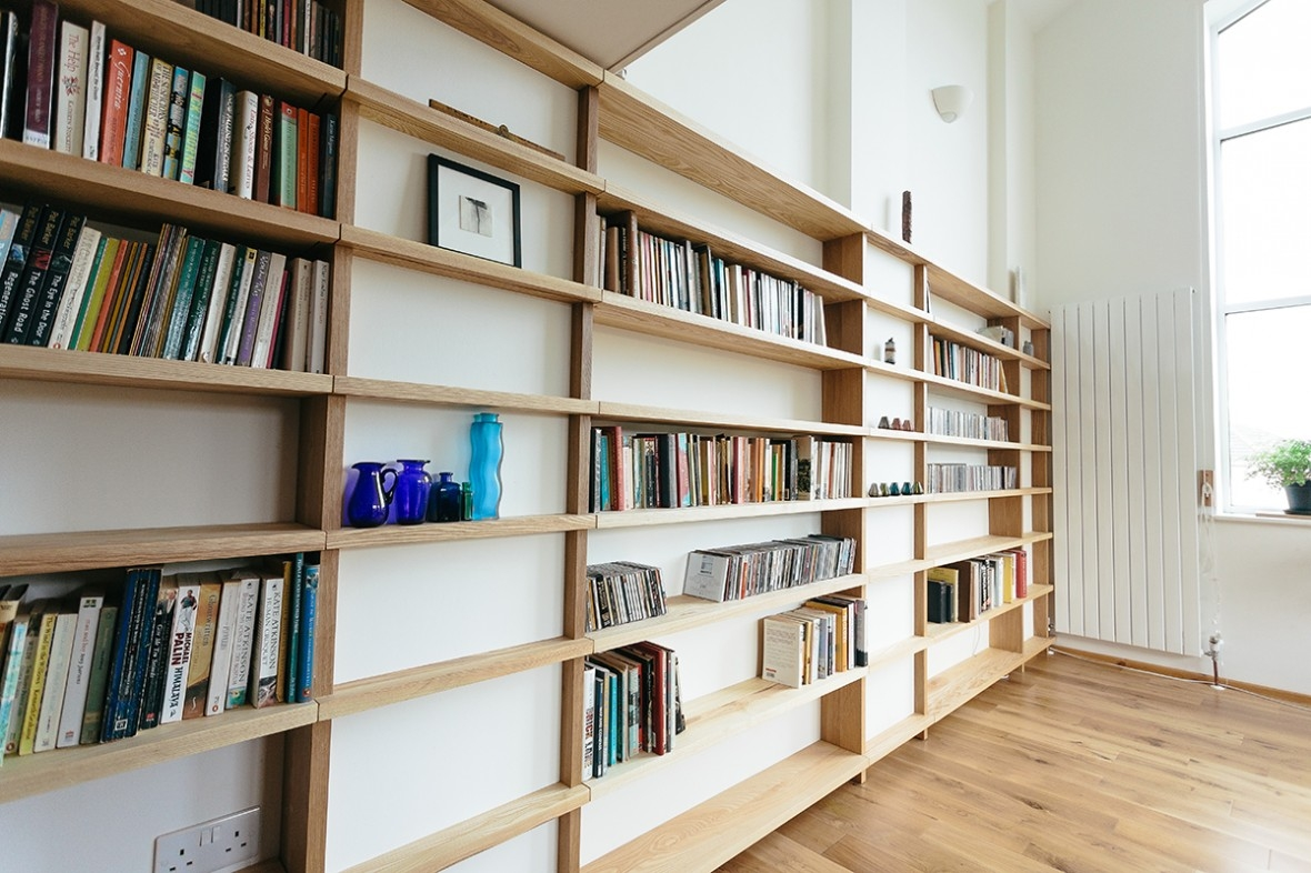 Oak And Ash Fitted Shelving Truro Cornwall Samuel F Walsh Regarding Bespoke Shelves (#15 of 15)