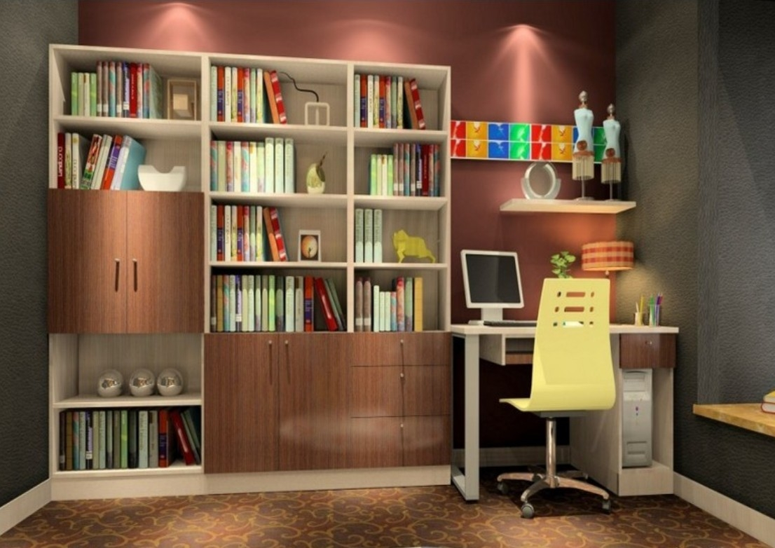 Oak Bookcase With Wall Unit Design 3d House Regarding Study Wall Unit Designs (#12 of 15)