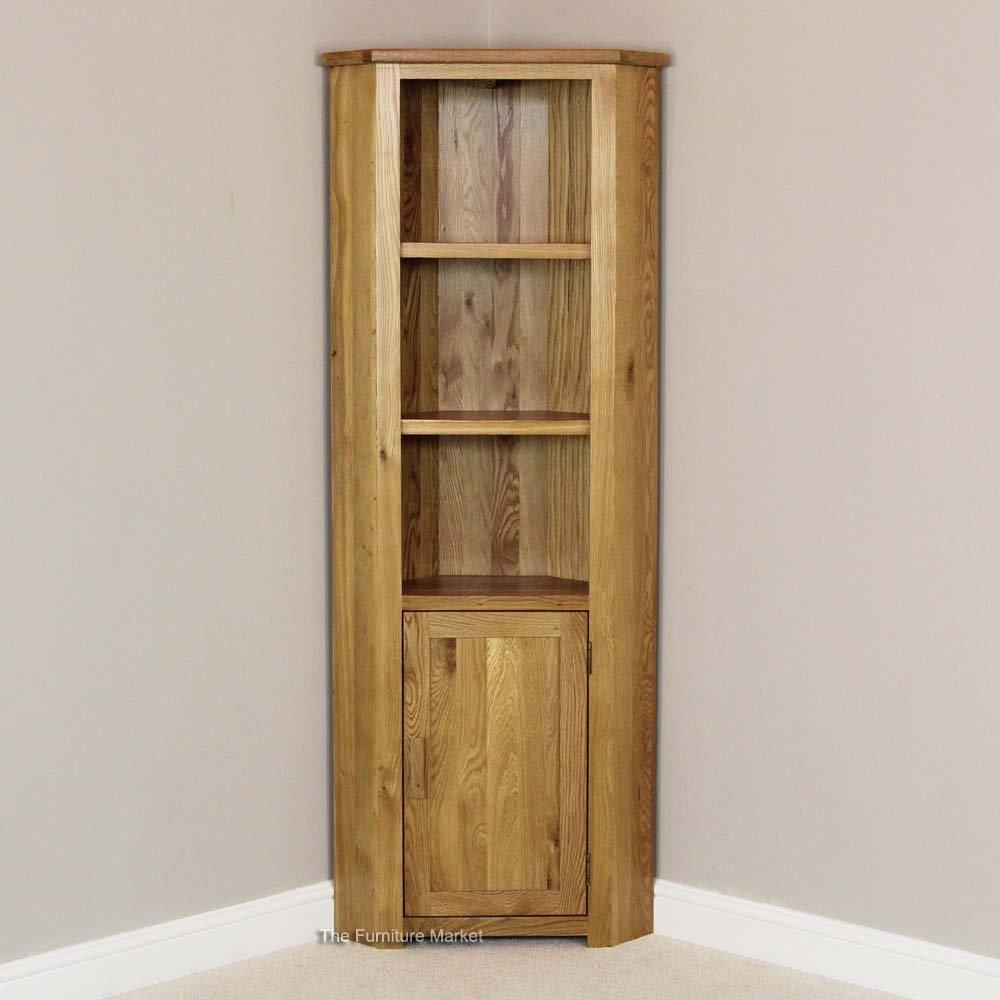 Oak Corner Display Cabinets With Light 86 With Oak Corner Display Intended For Corner Oak Bookcase (View 12 of 15)