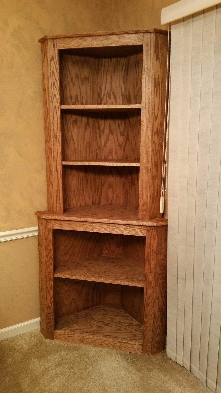 Oak Corner Hutch Cabinet Curio Bookcase Shelf Dishware Display Throughout Corner Oak Bookcase (View 13 of 15)