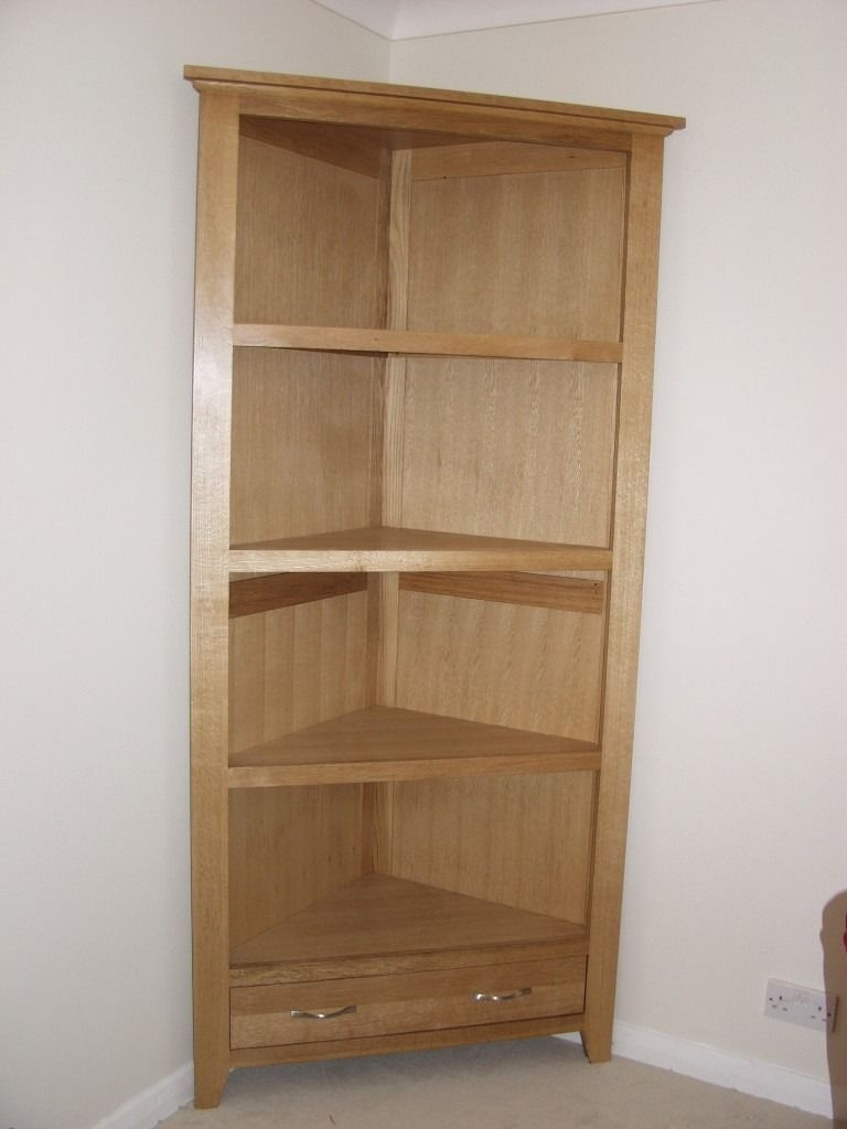 Oak Corner Tall Bookcase Or Storage Shelving Or Display Cabinet Inside Flat Pack Bookcase (#11 of 15)