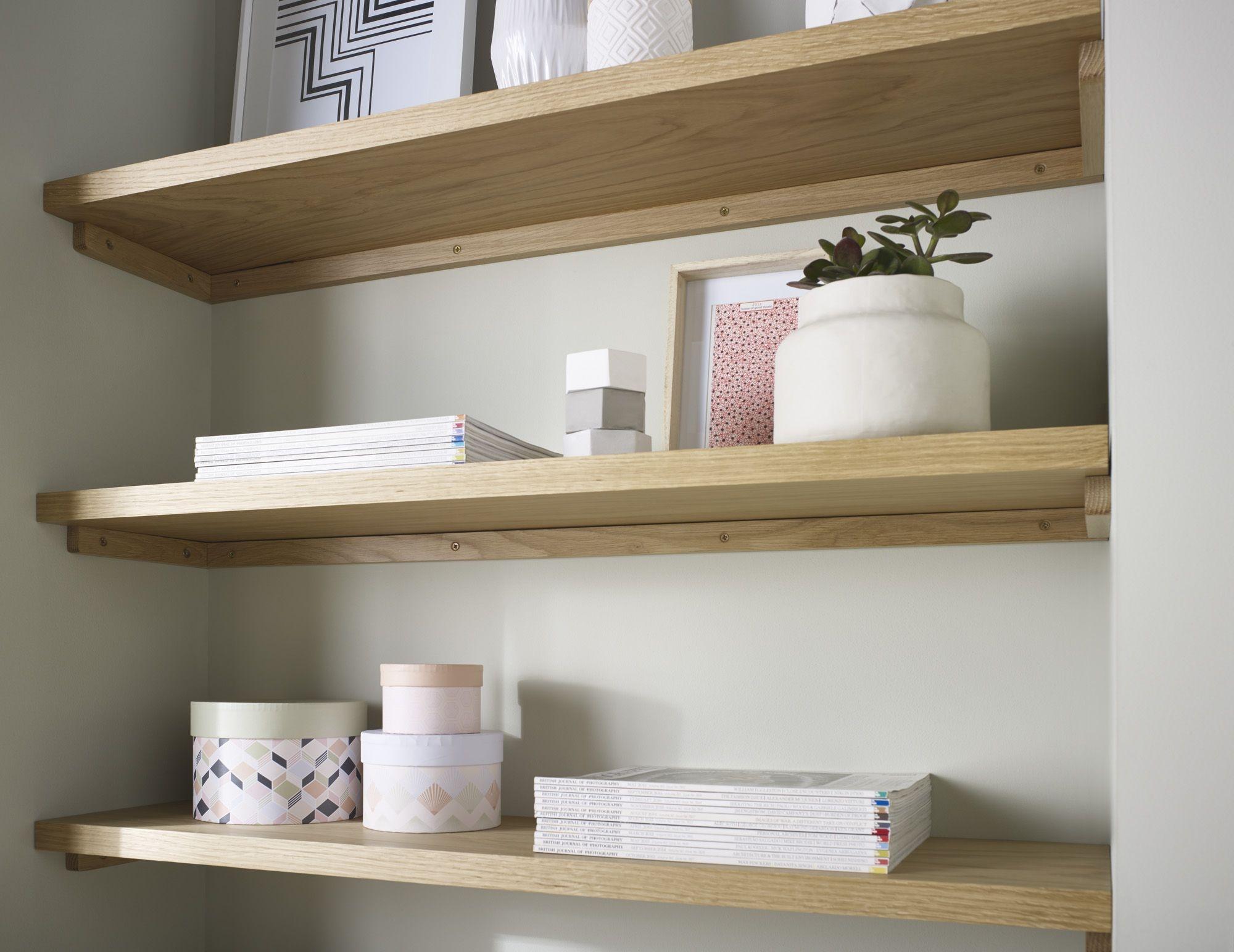 Oak Floating Shelves Chunky Solid Oak Floating Shelves Various Pertaining To Floating Shelves 120cm (#10 of 12)