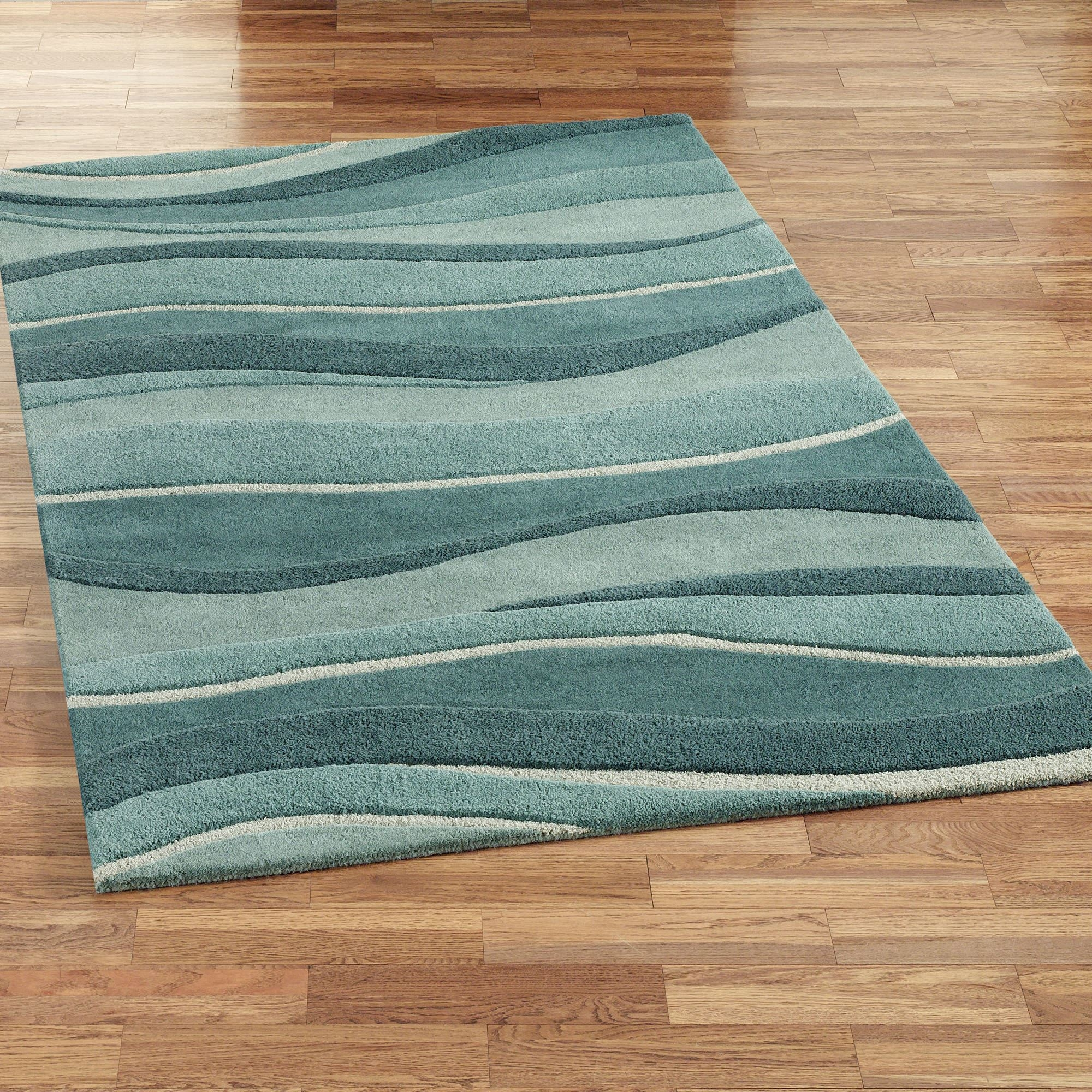 Ocean Landscapes Wool Area Rugs Within Blue Wool Area Rug (Image 1 of 15)