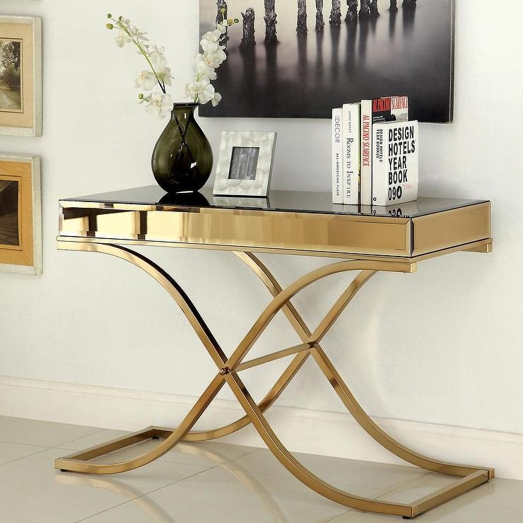 Of America Orelia Luxury Gold Metal Sofa Table For Metal Glass Sofa Tables (#13 of 15)