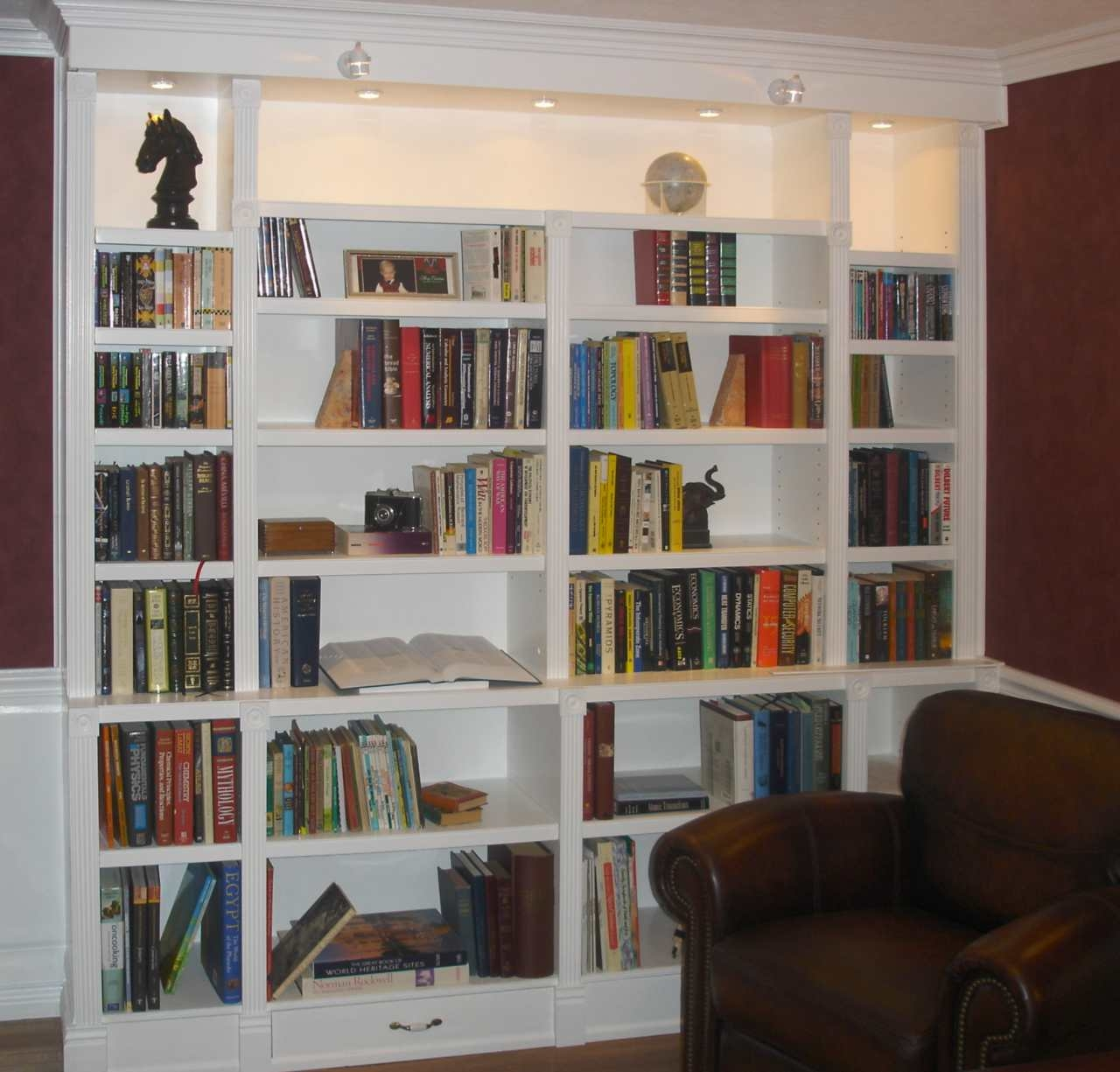 Office Library With Library Bookcase Lighting (View 6 of 15)