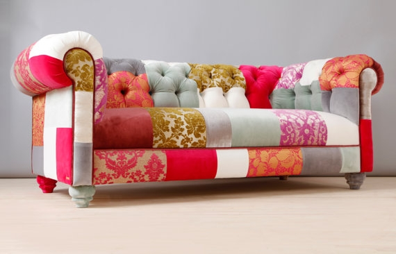 One Of A Kind Pieces Of Exciting Patchwork And Upcycled Furniture With Regard To Etsy Sofas (#10 of 15)