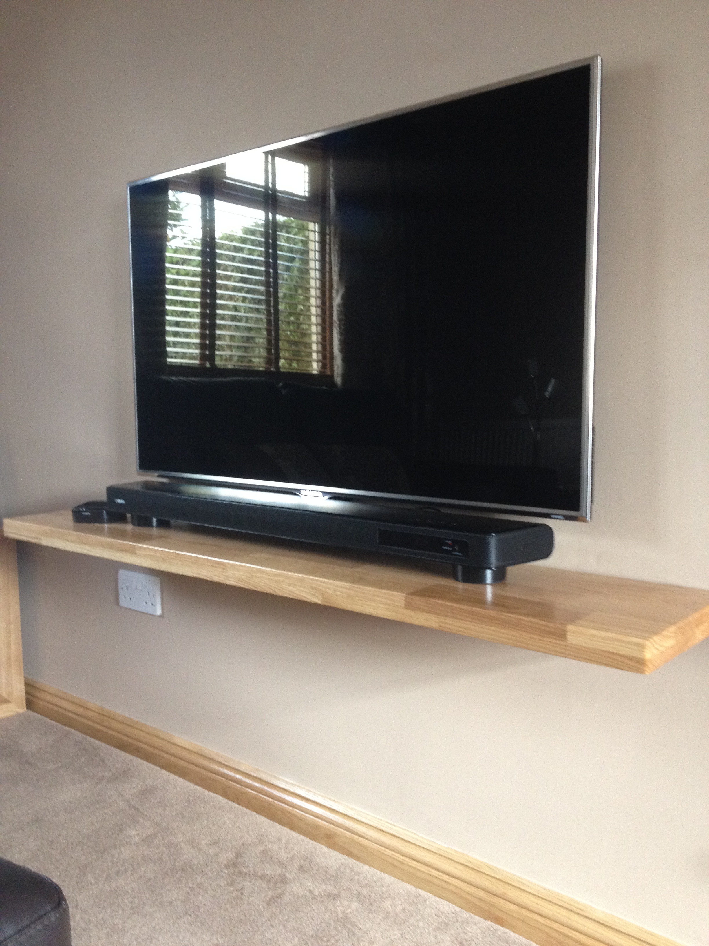One Of Ours Solid Oak Floating Shelves Used To Support A Flat In Flat Screen Shelving (#9 of 15)