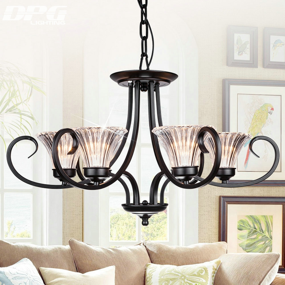 Online Get Cheap Chandelier Shades Glass Aliexpress Alibaba Pertaining To Modern Wrought Iron Chandeliers (#9 of 12)