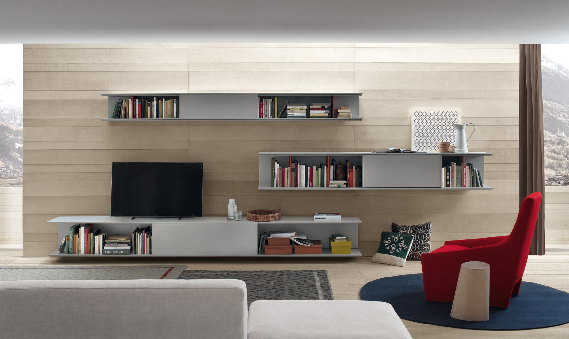Online Is The Innovative Wall System That Combines Essential With Tv Cabinet And Bookcase (#11 of 15)
