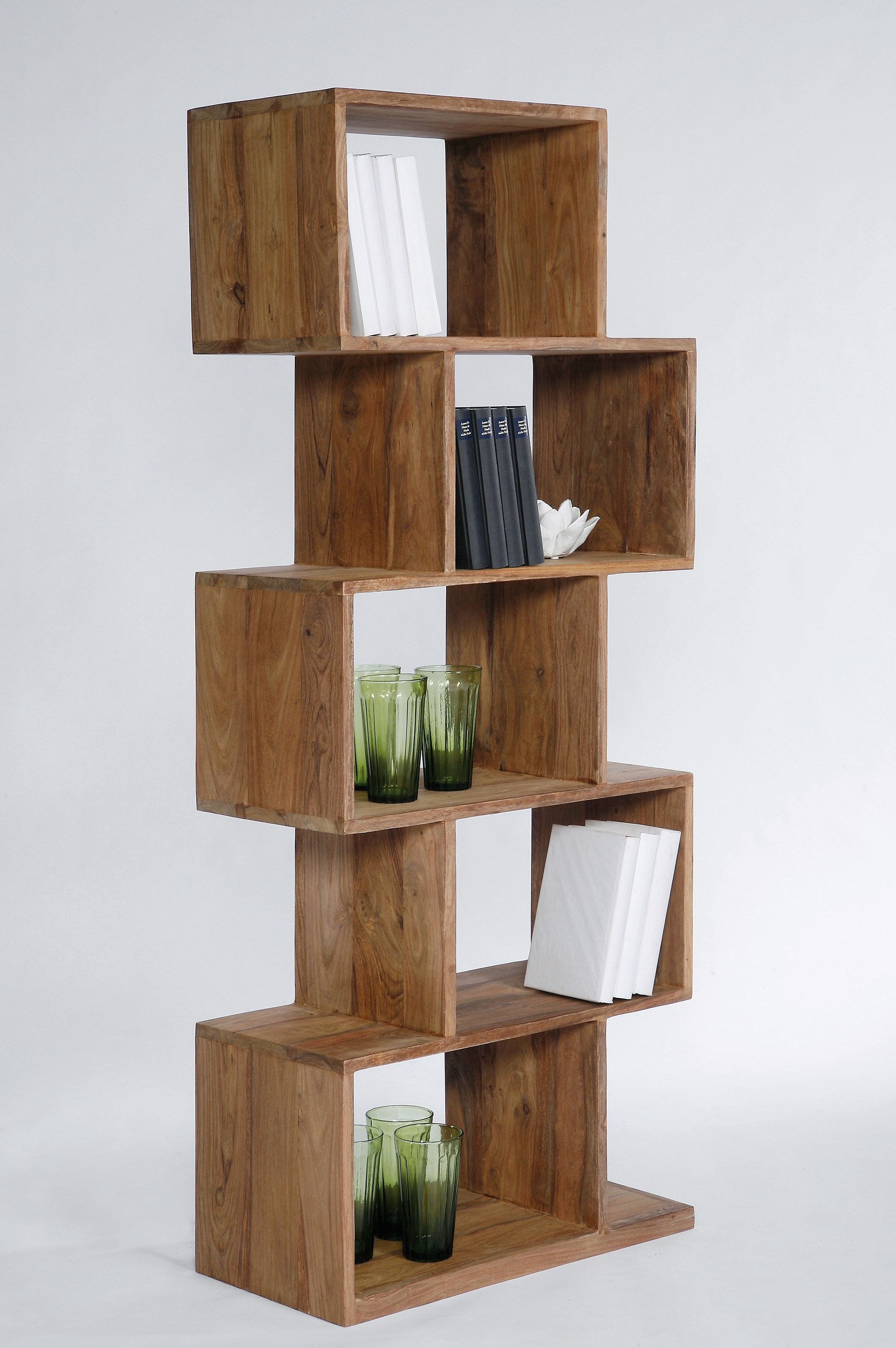 Open Wooden Bookcase Authentico Zick Zack 150 Karedesign In Wooden Bookcases (View 6 of 15)