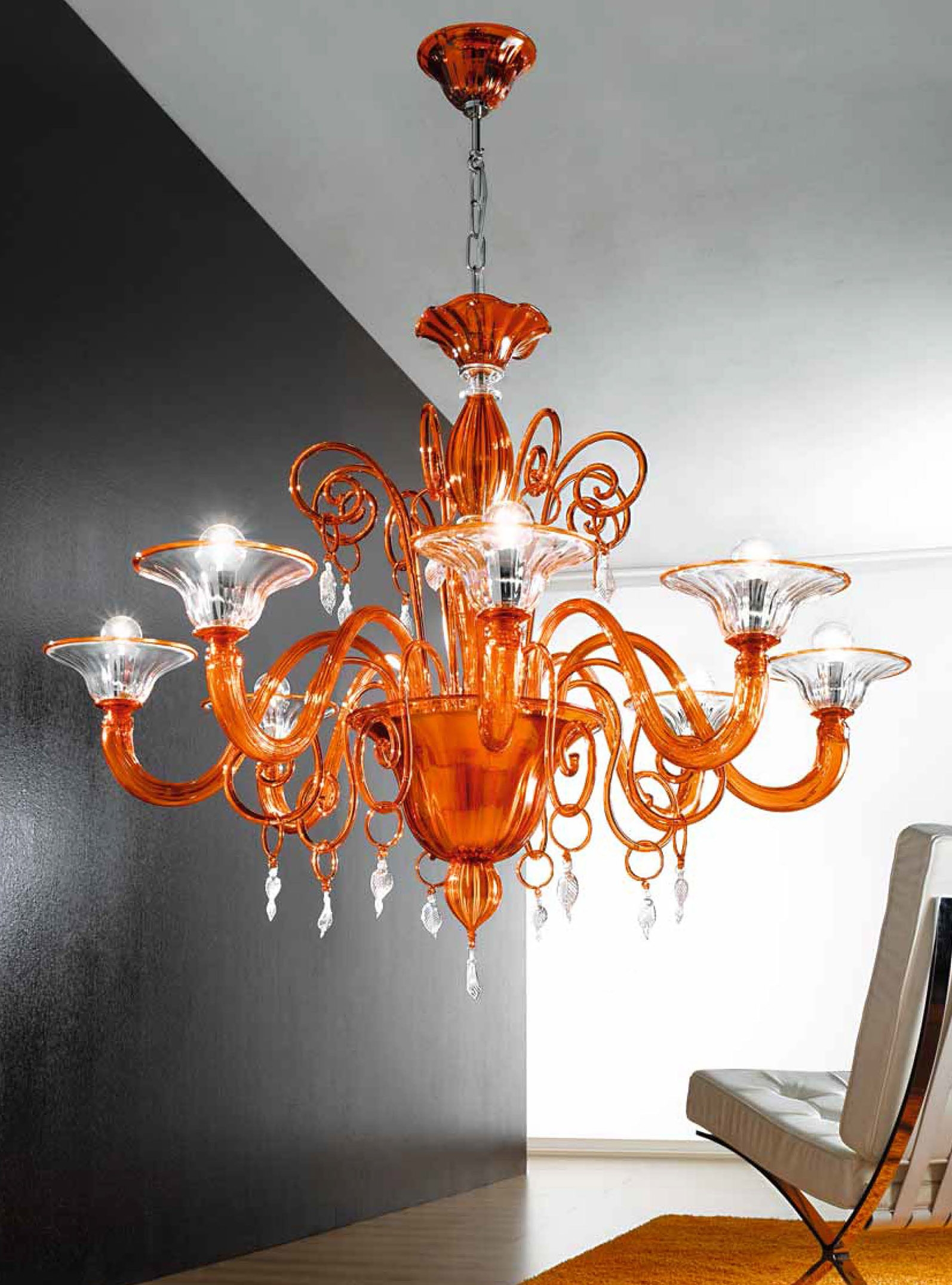 Orange And Clear Murano Glass Chandelier Mll972k8 Murano Intended For Murano Chandelier (#12 of 12)