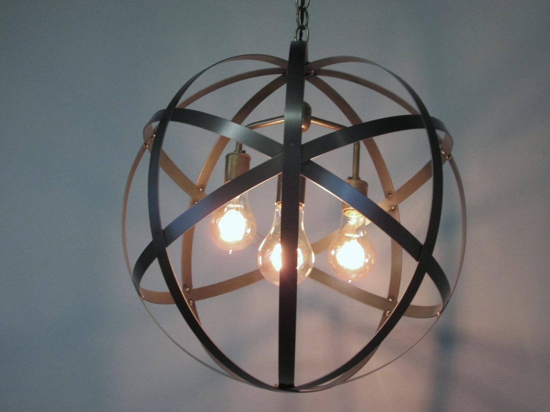 Orb Chandelier Etsy In Metal Sphere Chandelier (#12 of 12)