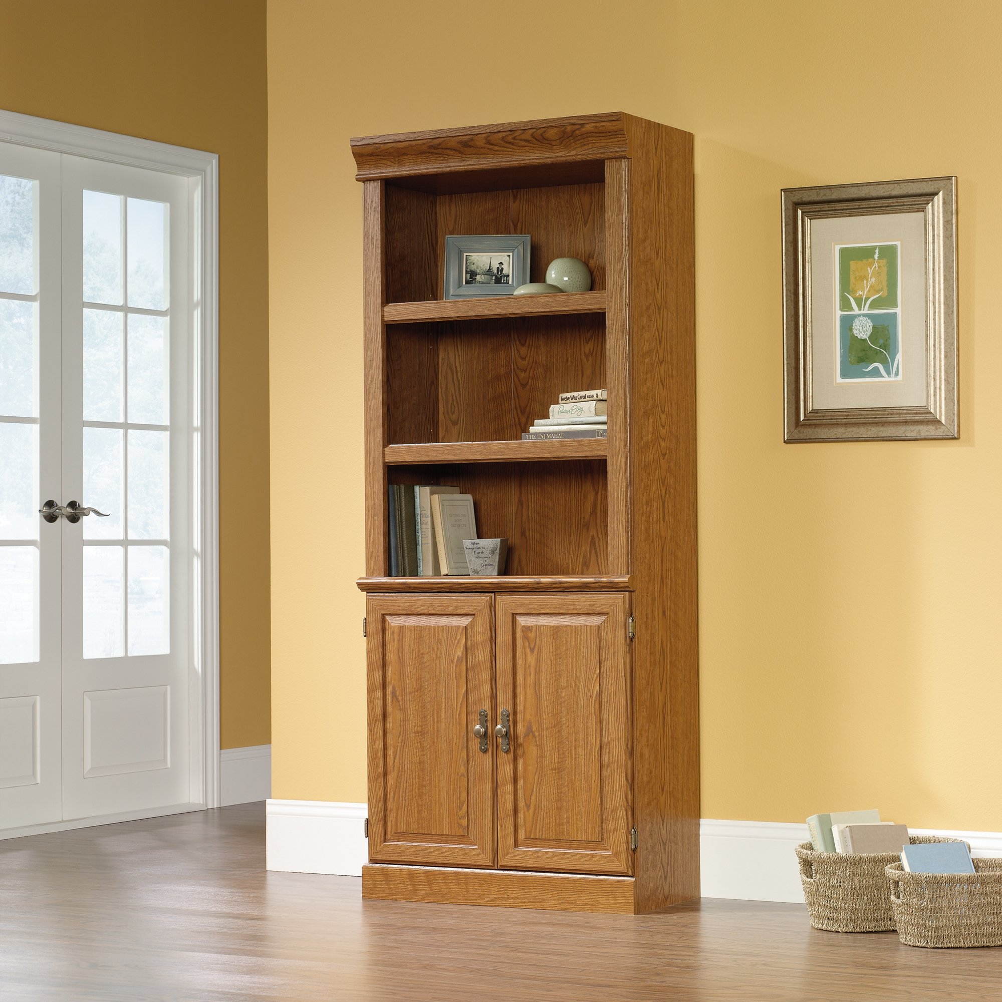 Orchard Hills Library With Doors 402173 Sauder With Oak Library Bookcase (#9 of 15)