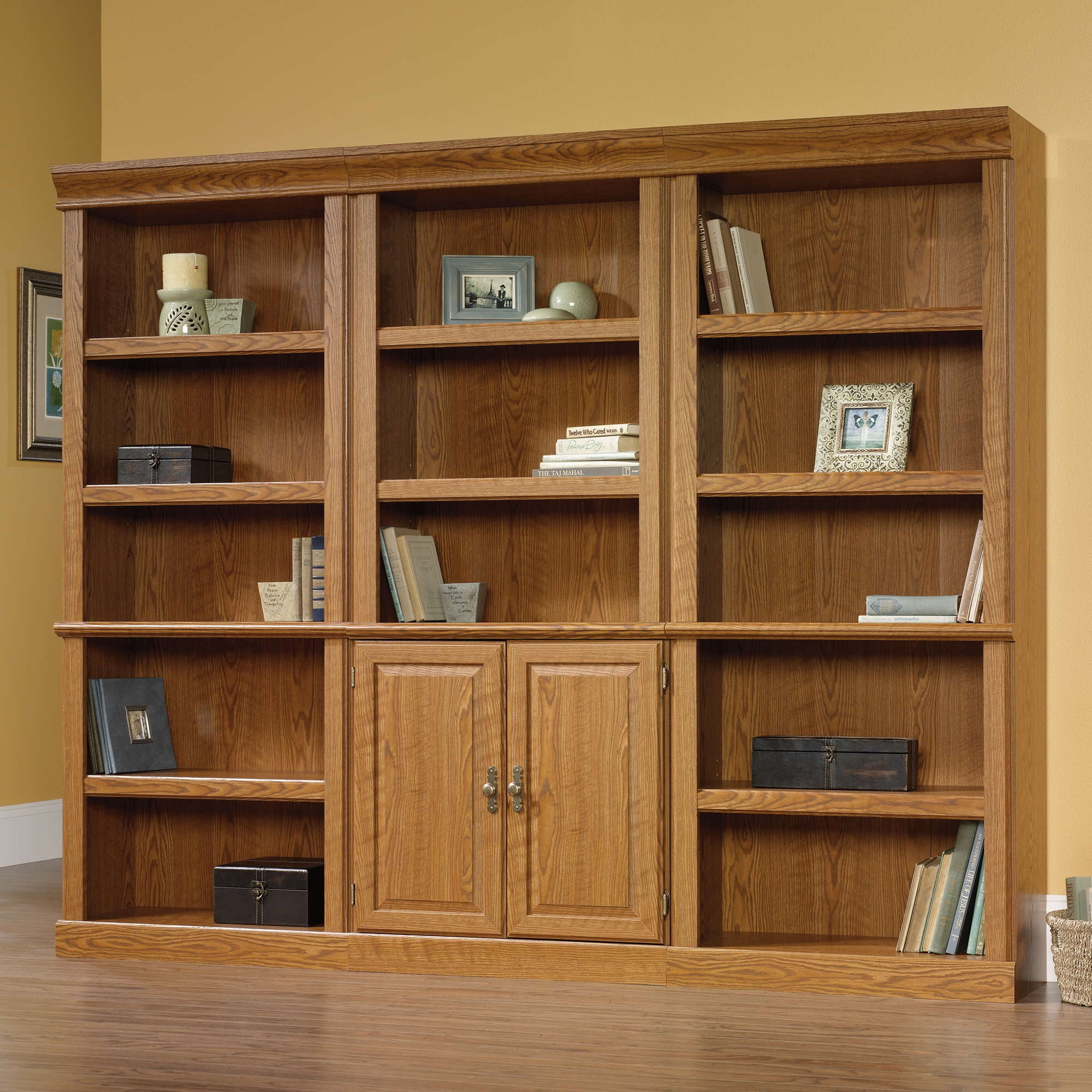 Orchard Hills Library With Doors 402173 Sauder Within Oak Library Bookcase (#10 of 15)