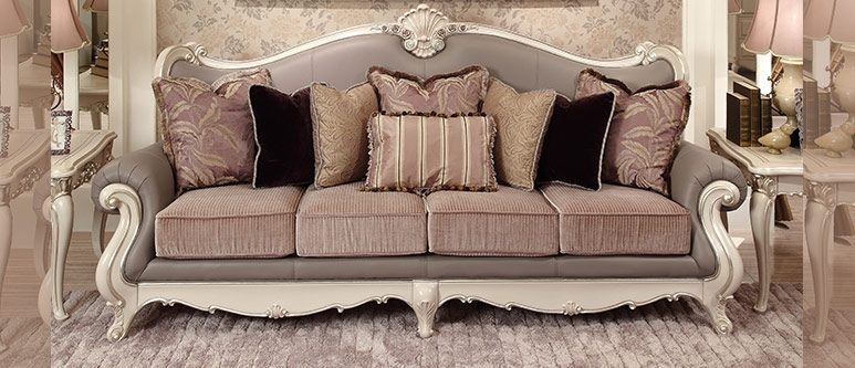 Os 0314057elegant European Style Grey Color Leather Fabric Sofa Within Leather And Material Sofas (#10 of 15)