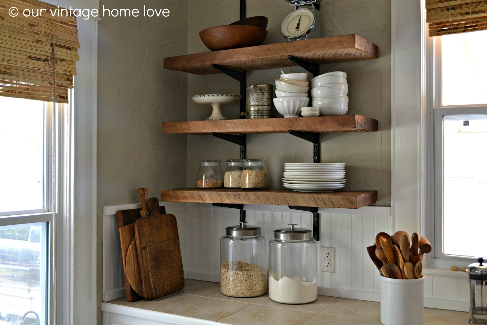 Our Vintage Home Love Reclaimed Wood Kitchen Shelving Reveal Pertaining To Kitchen Shelves (#8 of 12)
