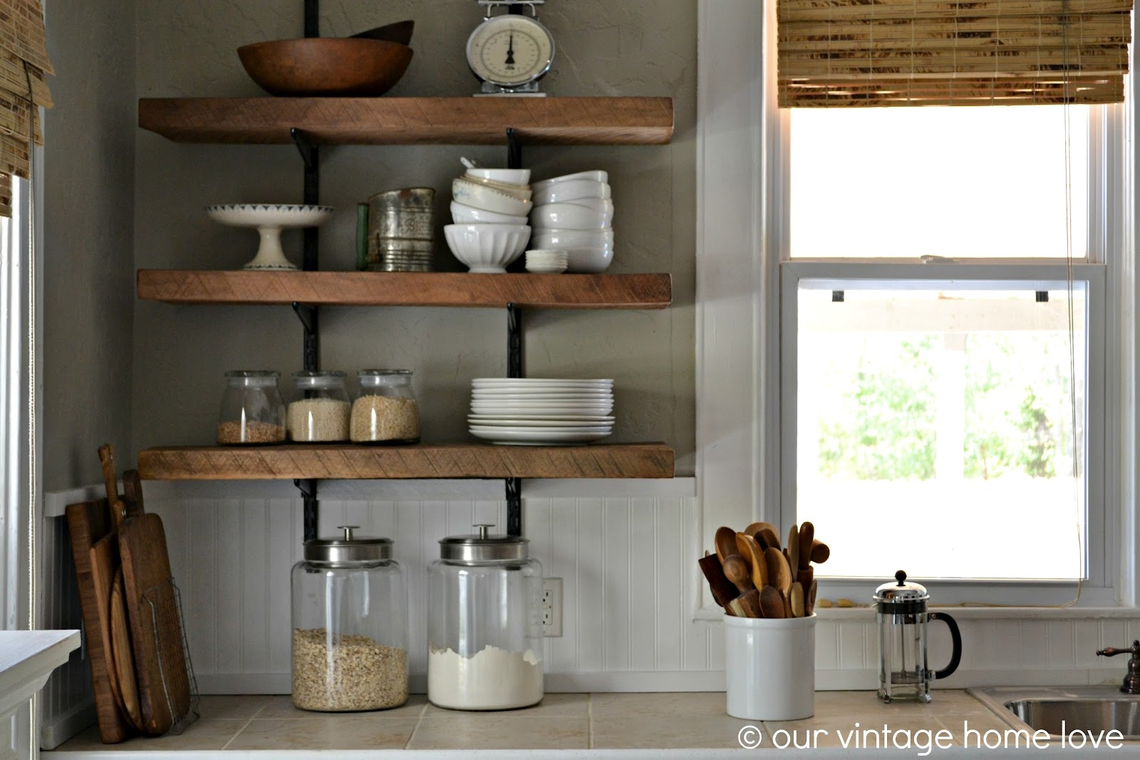 Our Vintage Home Love Reclaimed Wood Kitchen Shelving Reveal Pertaining To Kitchen Shelves (View 6 of 12)