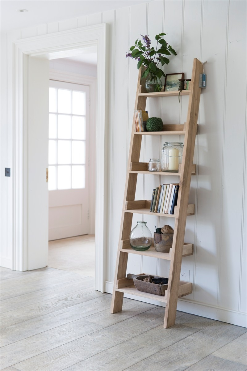 Outdoor Ladder Shelves Repurposed Ladder Shelf Diy Shab Chic With Ladder Shelves (#12 of 15)