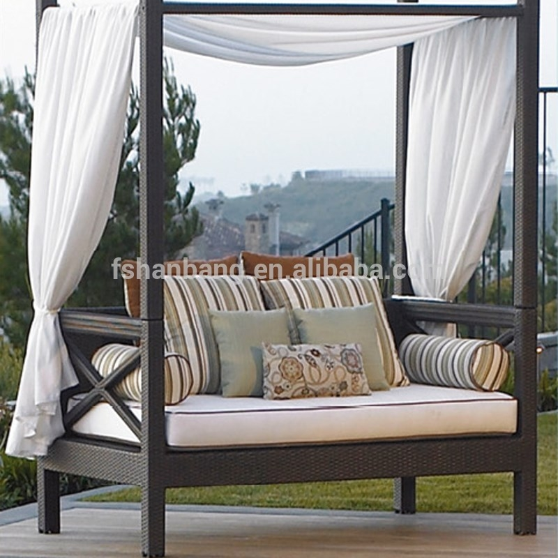 Outdoor Patio Wicker Rattan Sunbed Daybed Furniture Lounger Sofa With Regard To Outdoor Sofas With Canopy (#14 of 15)