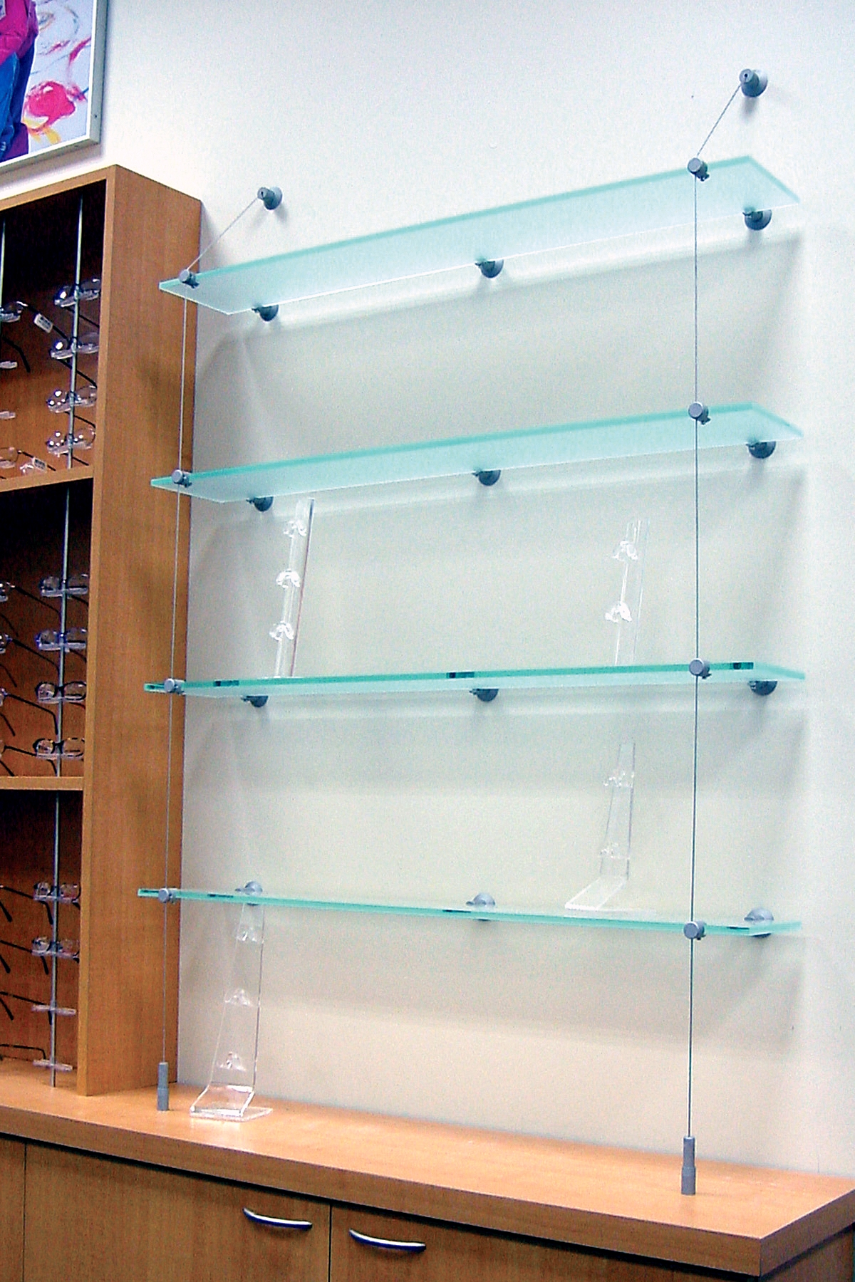 Outwaters Easy To Install Cable Shelving Signage Hardware Is An Inside Suspended Glass Shelves (#8 of 15)