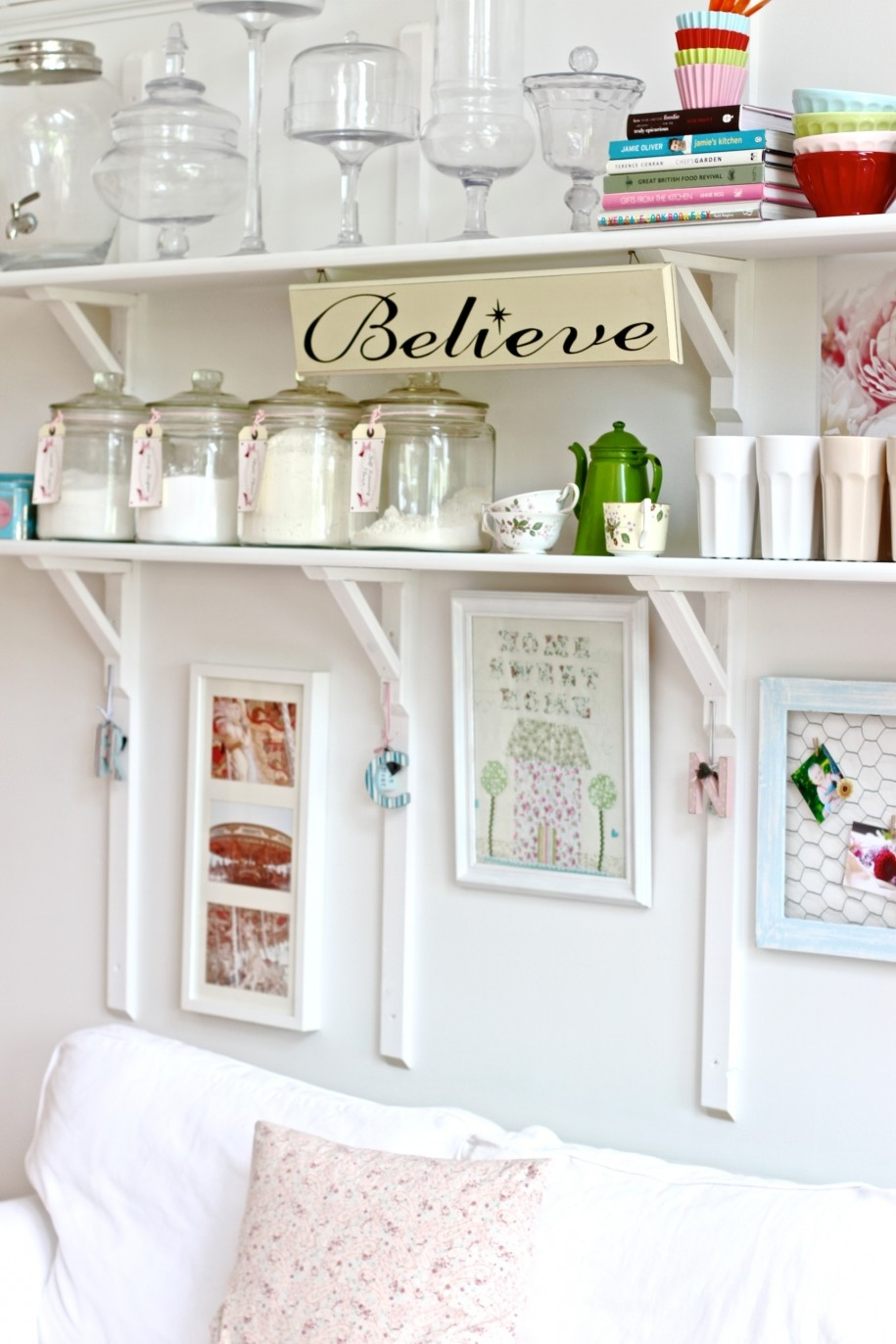 Painted White Color Diy Wood Wall Mounted Folding Kitchen Shelving Within Painted Shelving Units (#9 of 15)