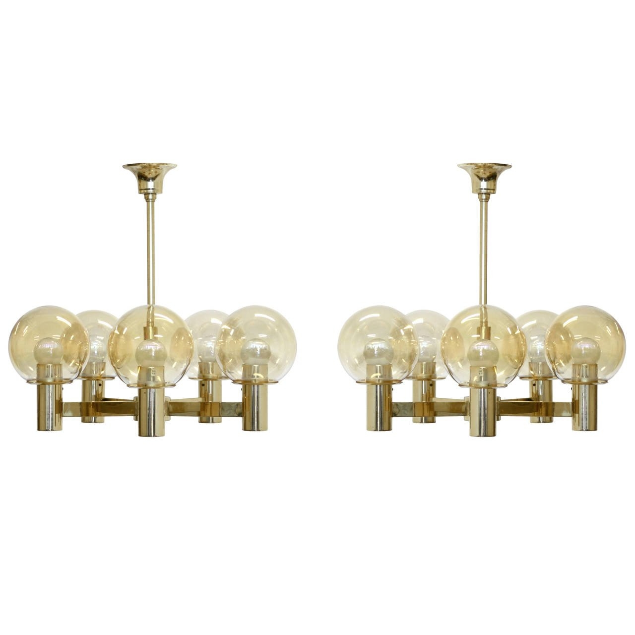 Pair Of Brass Chandeliers Hvik Lys At 1stdibs Pertaining To Brass Chandeliers (#9 of 12)