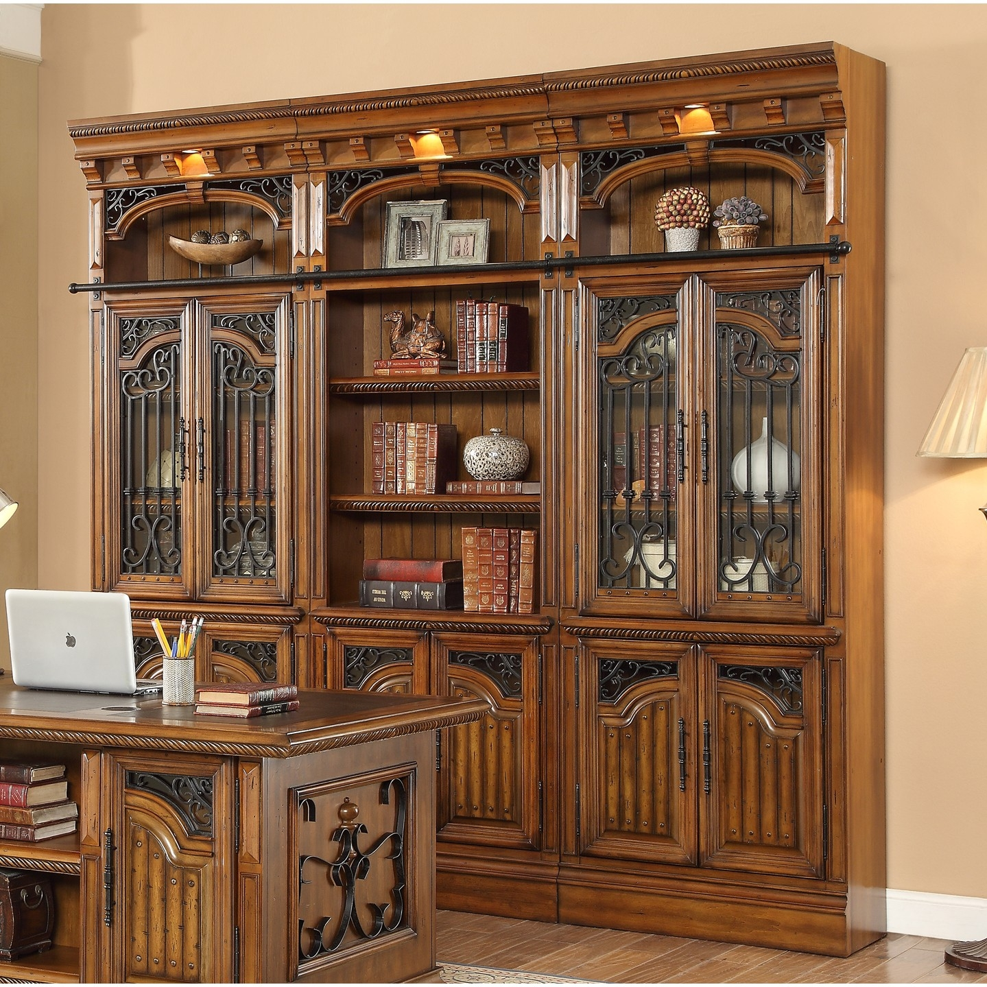 Parker House Barcelona 3pc Library Bookcase Wall Unit For 332205 In With Library Bookcase Wall Unit (View 7 of 15)