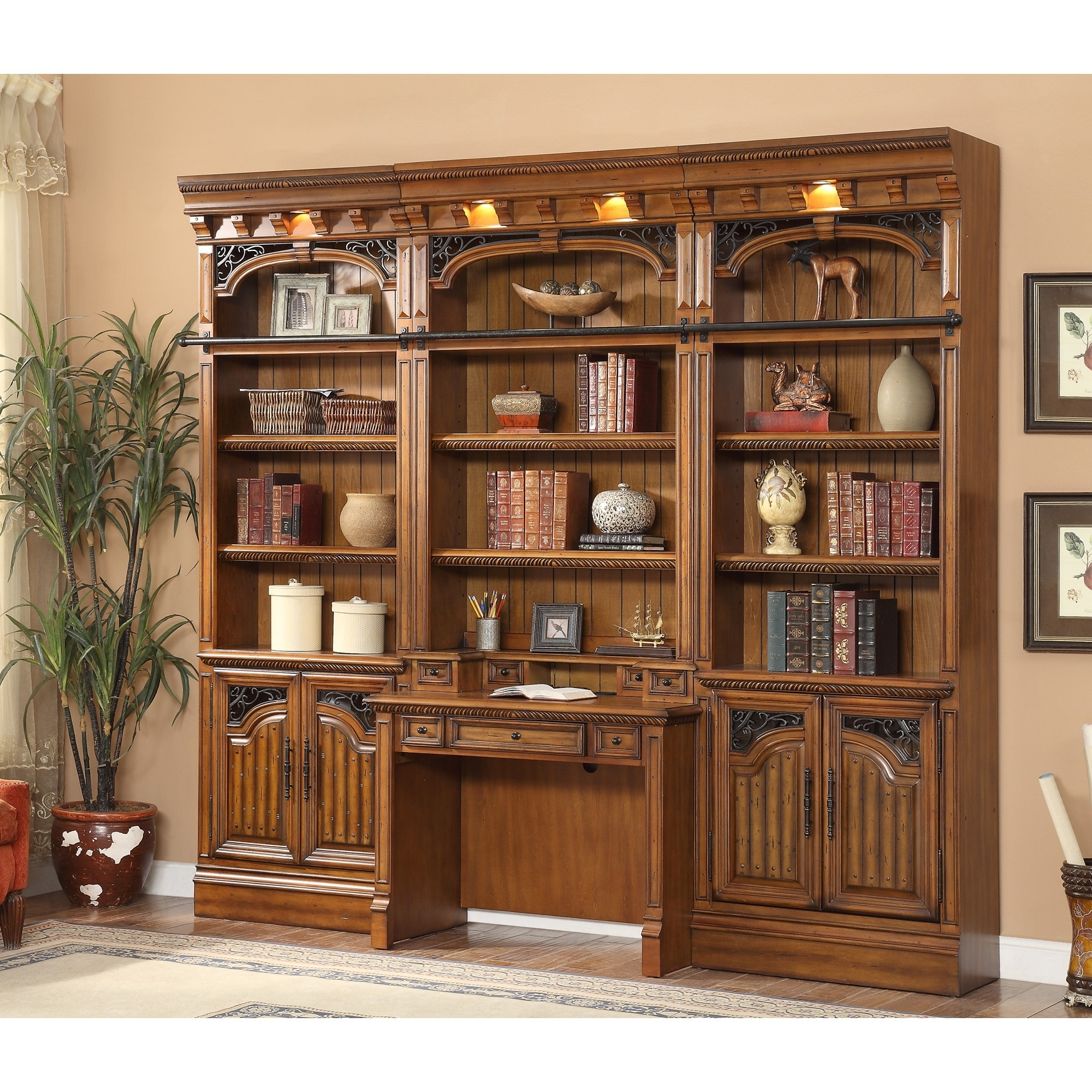 Parker House Barcelona 4pc Library Bookcase Wall Unit With Desk Pertaining To Library Wall Units Bookcase (#11 of 15)