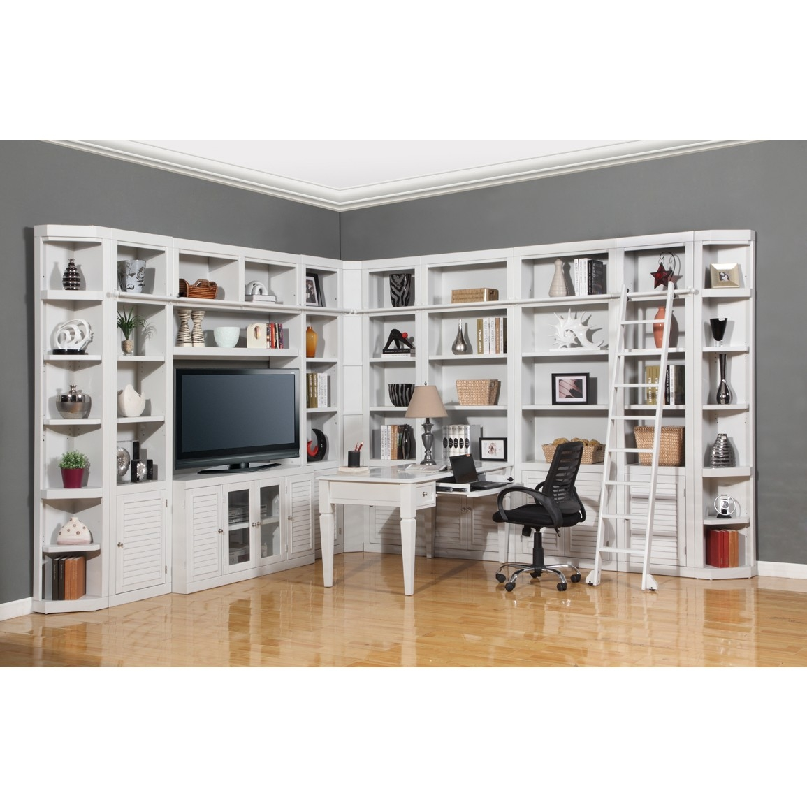 Parker House Boca 12pc Corner Library Bookcase Wall Unit With Desk With Corner Library Bookcase (View 2 of 15)