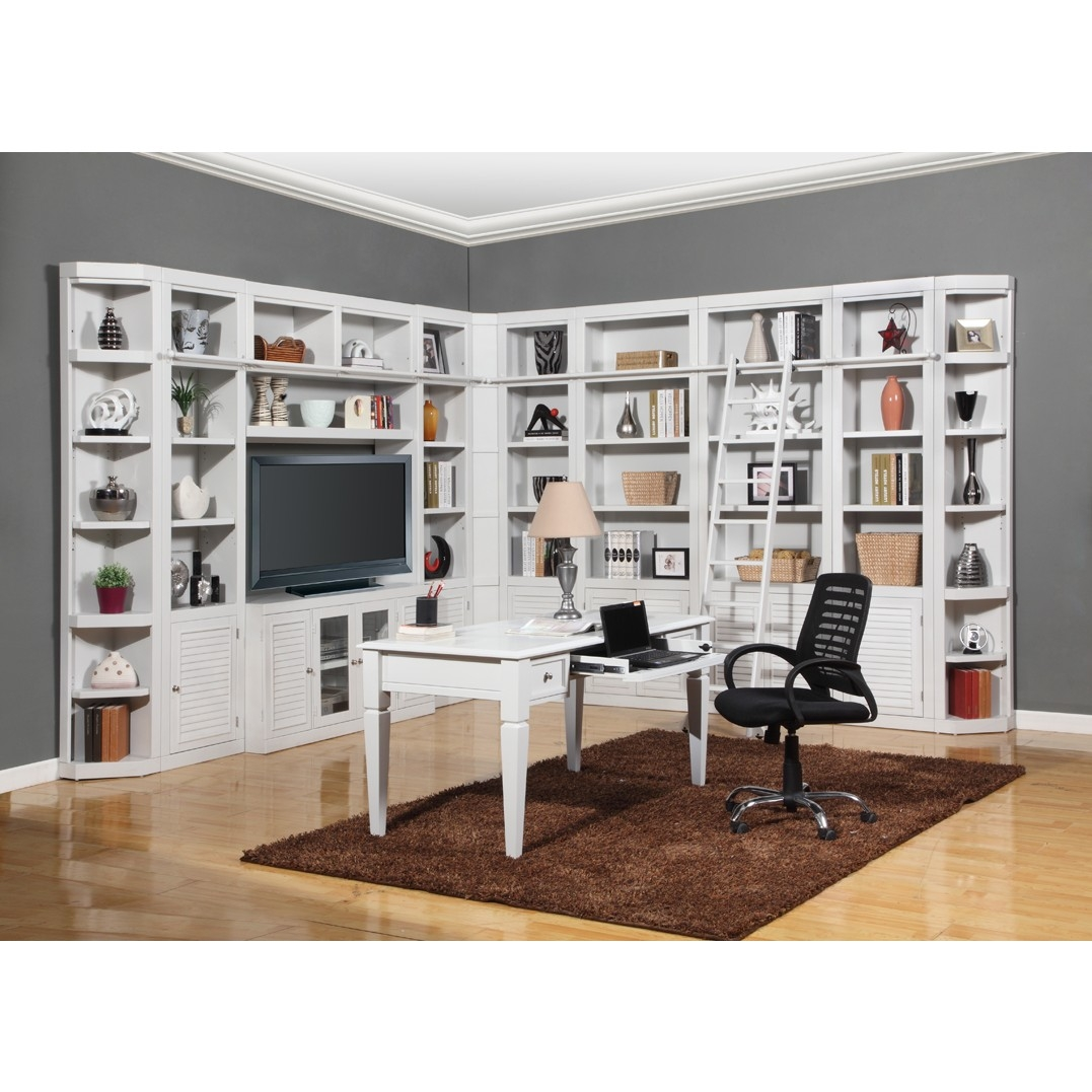 Parker House Boca 12pc Corner Library Bookcase Wall Unit With Desk Within White Library Bookcase (View 7 of 15)