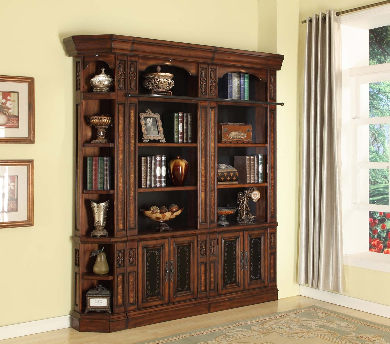 Inspiration About Parker House Leonardo Library Wall Unit Bookcase Set 5 Ph  Leowall Throughout Bookcase Library