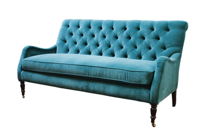 Peacock Blue Velvet Tufted Sofa 495 Available In The New York With Blue Tufted Sofas (#12 of 15)
