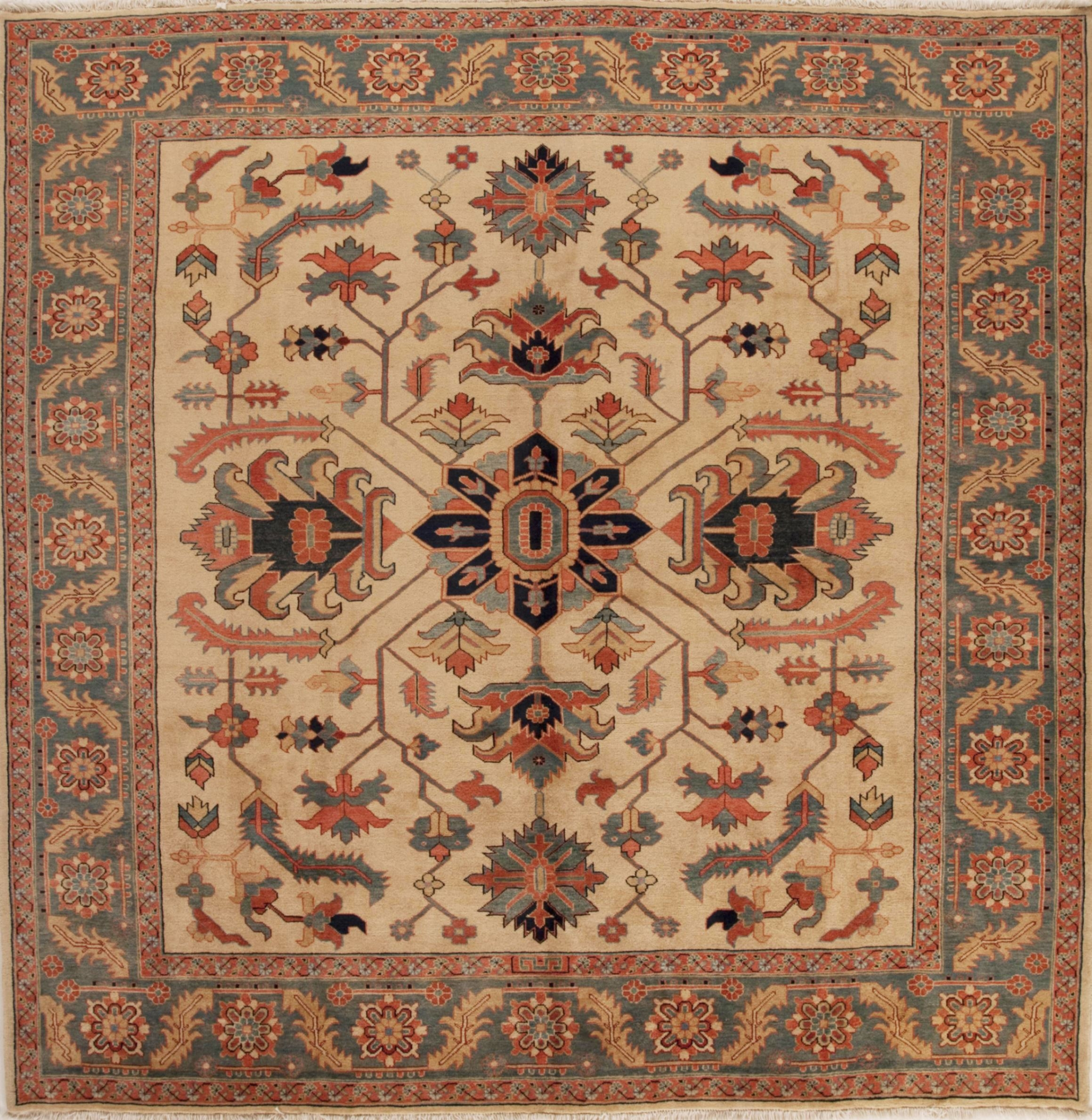 Persian Heriz Beige Square 9 Ft And Larger Wool Carpet 13308 Regarding Square Wool Area Rugs (#5 of 15)
