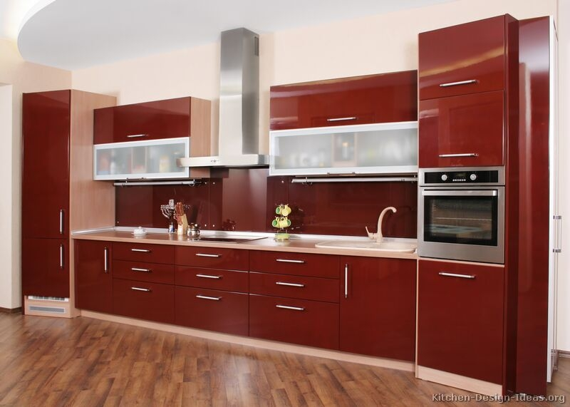 Pictures Of Kitchens Modern Red Kitchen Cabinets Pertaining To Kitchen Cupboards (#12 of 15)