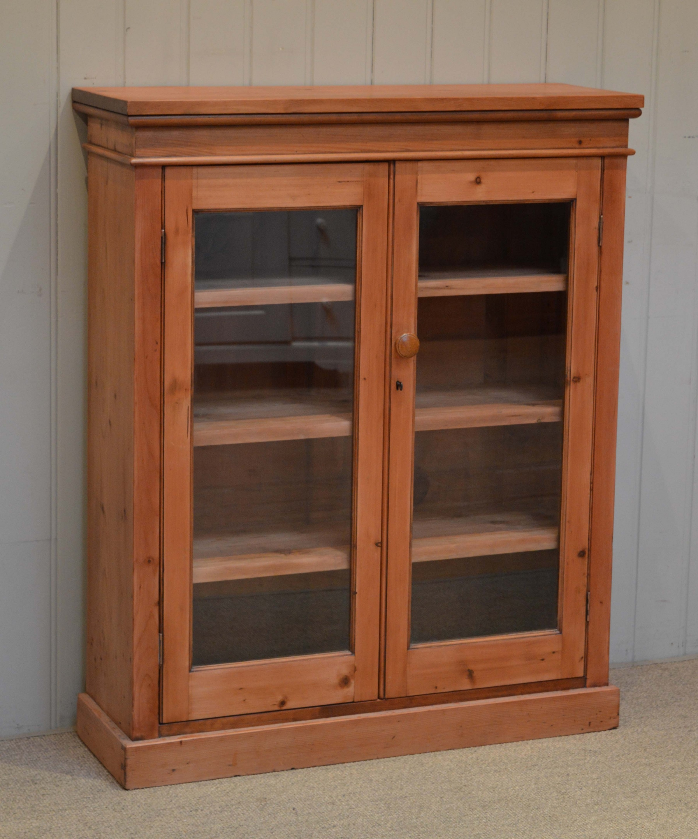 Pine Two Door Glazed Bookcase C 1910 English From Worboys Regarding Glazed Bookcases (#11 of 15)