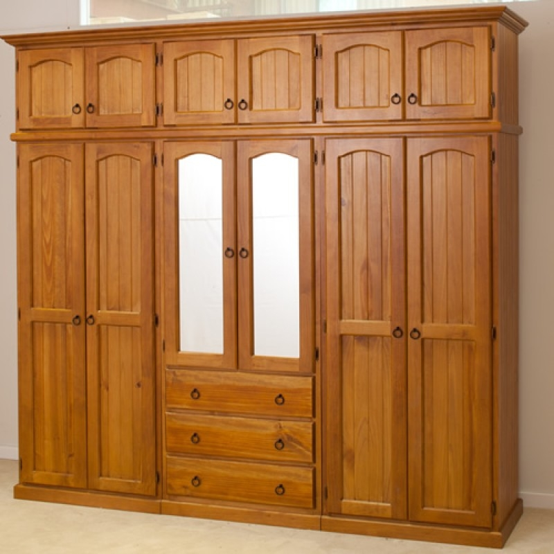 Pine Wood Wardrobes Nanobuffet Throughout Large Wooden Wardrobes (#15 of 15)