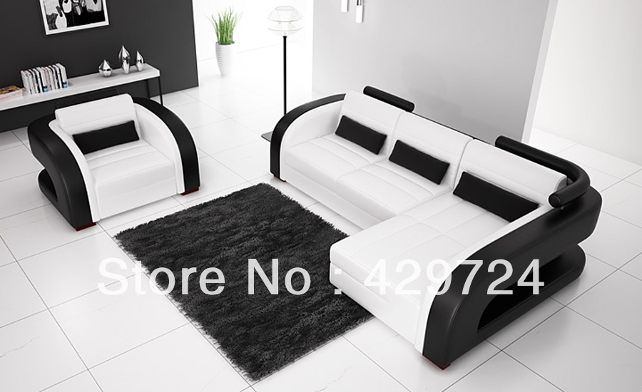 Popular 3 2 Black Leather Sofas Buy Cheap 3 2 Black Leather Sofas Within Black And White Sofas (#12 of 15)