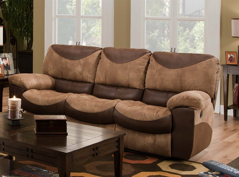 Portman Reclining Sofa In Two Tone Chocolate And Saddle Fabric With Regard To Two Tone Sofas (View 5 of 15)