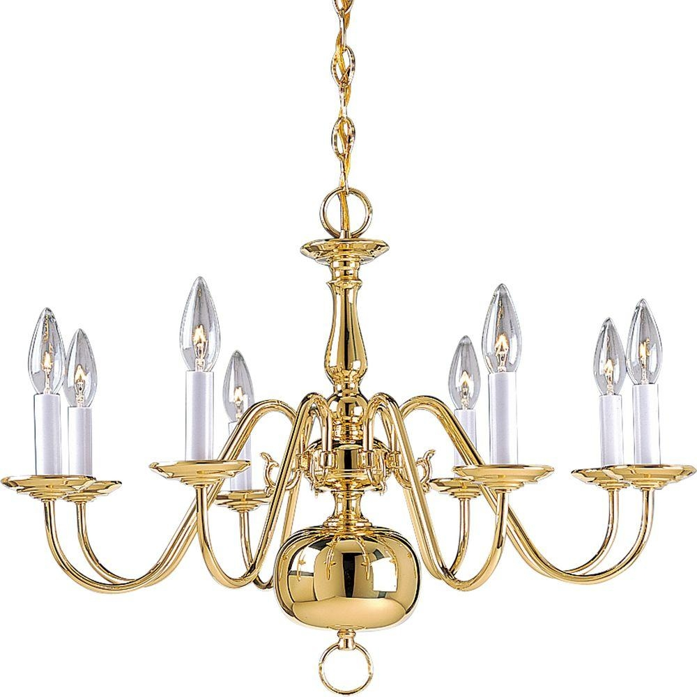 Progress Lighting Americana Collection 8 Light Polished Brass Regarding Brass Chandeliers (#12 of 12)