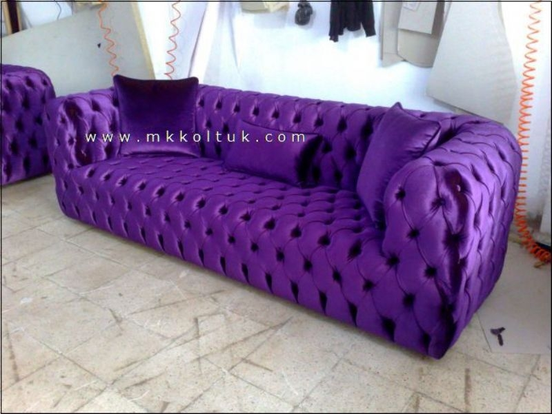 Purple Chesterfield Sofa New Style Exclusive Design Ideas Throughout Velvet Purple Sofas (#9 of 15)