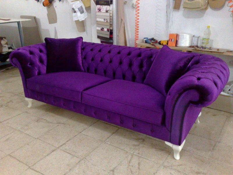 Purple Sofas On Sale Sofa Pinterest Velvet Chesterfield Sofa Within Velvet Purple Sofas (#11 of 15)